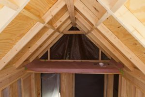 Shot of a storage loft in a tiny house during construction
