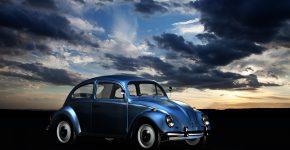 Beetle bil solnedgang